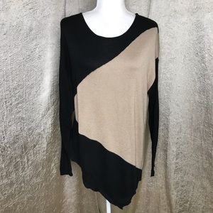 Joan Vass Asymmetrical Black Tan Sweater Sz Lg